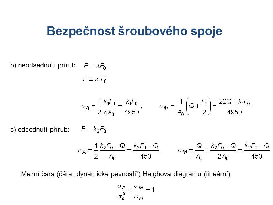 """b) neodsednutí přírub: Mezní čára (čára """"dynamické pevnosti"""") Haighova diagramu (lineární): Bezpečnost šroubového spoje c) odsednutí přírub:"""