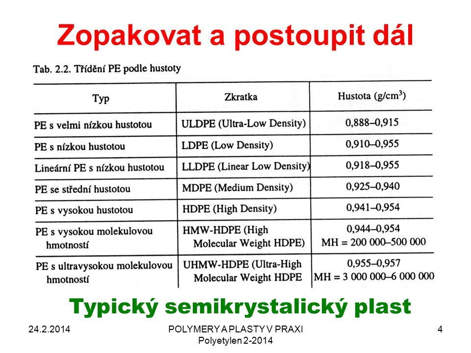 Zopakovat a postoupit dál 24.2.2014POLYMERY A PLASTY V PRAXI Polyetylen 2-2014 4 Typický semikrystalický plast