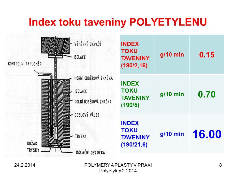 Index toku taveniny POLYETYLENU INDEX TOKU TAVENINY (190/2,16) g/10 min 0.15 INDEX TOKU TAVENINY (190/5) g/10 min 0.70 INDEX TOKU TAVENINY (190/21,6) g/10 min 16.00 24.2.2014POLYMERY A PLASTY V PRAXI Polyetylen 2-2014 8