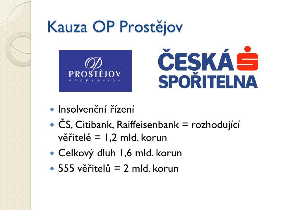 Kauza OP Prostějov Insolvenční řízení ČS, Citibank, Raiffeisenbank = rozhodující věřitelé = 1,2 mld.