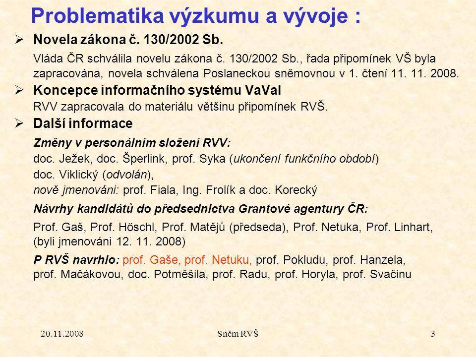 20.11.2008Sněm RVŠ3  Novela zákona č. 130/2002 Sb. Vláda ČR schválila novelu zákona č. 130/2002 Sb., řada připomínek VŠ byla zapracována, novela schv