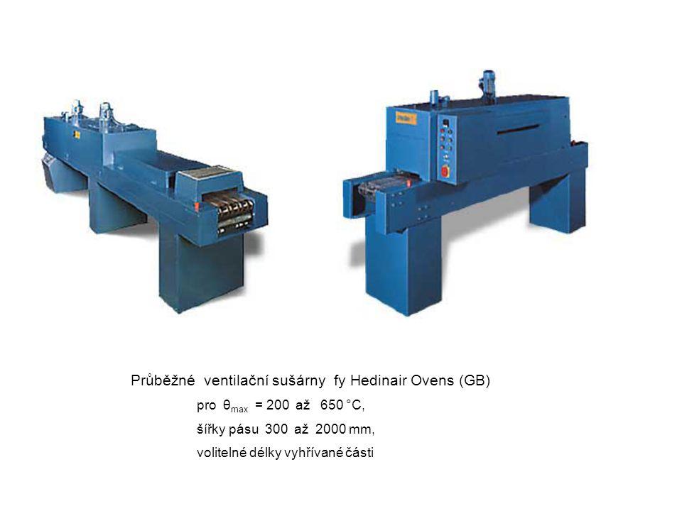 Průběžné ventilační sušárny fy Hedinair Ovens (GB) pro θ max = 200 až 650 °C, šířky pásu 300 až 2000 mm, volitelné délky vyhřívané části