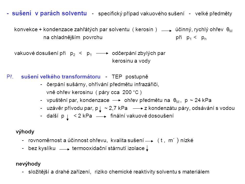 - sušení v parách solventu - specifický případ vakuového sušení - velké předměty konvekce + kondenzace zahřátých par solventu ( kerosin ) účinný, rych