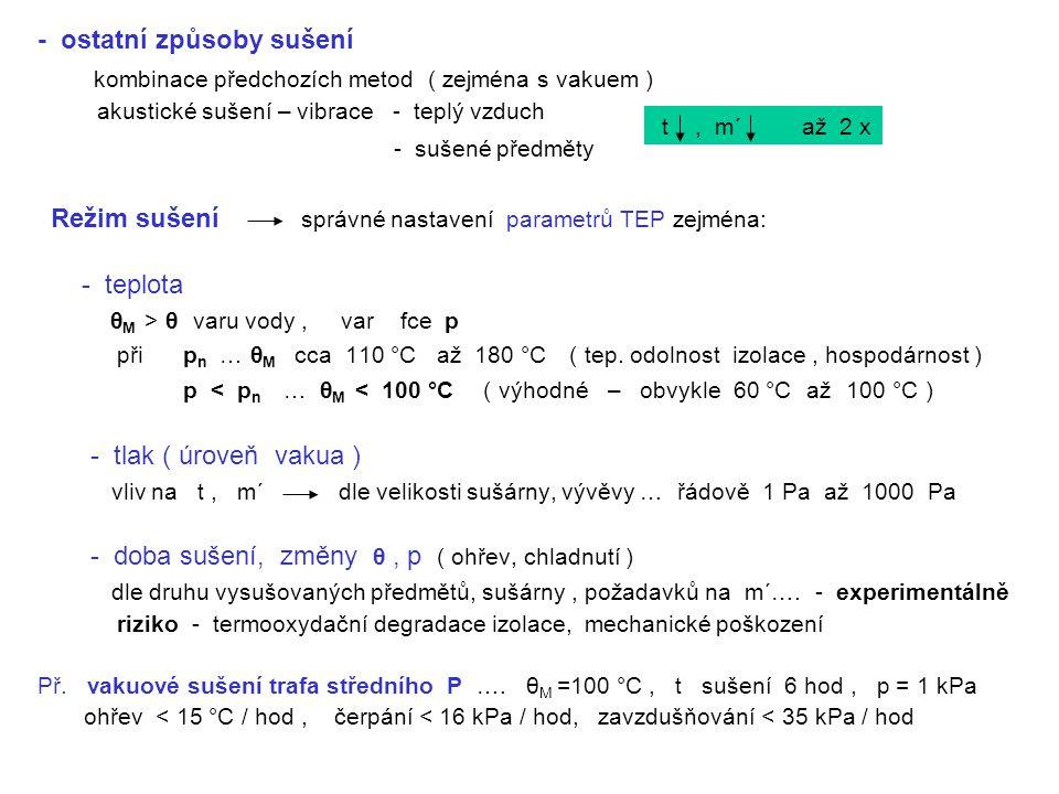 - ostatní způsoby sušení kombinace předchozích metod ( zejména s vakuem ) akustické sušení – vibrace - teplý vzduch - sušené předměty Režim sušení spr