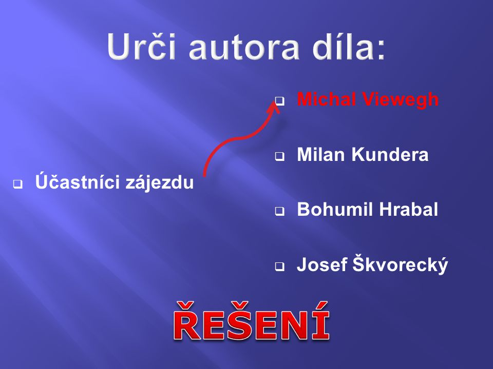 Téma: Urči autory a názvy děl, 9.ročník Použitý software: držitel licence - ZŠ J.