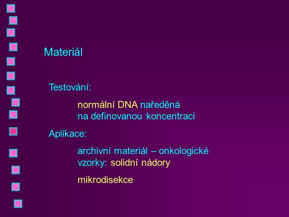 Materiál Testování: normální DNA naředěná na definovanou koncentraci Aplikace: archivní materiál – onkologické vzorky: solidní nádory mikrodisekce