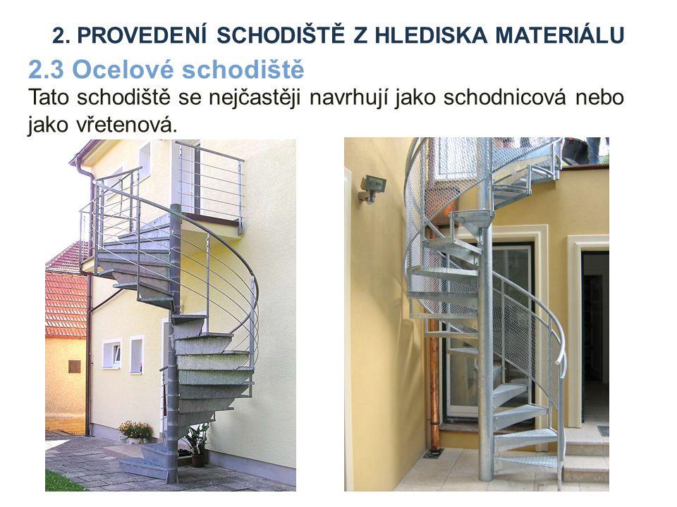 Tato schodiště se nejčastěji navrhují jako schodnicová nebo jako vřetenová.