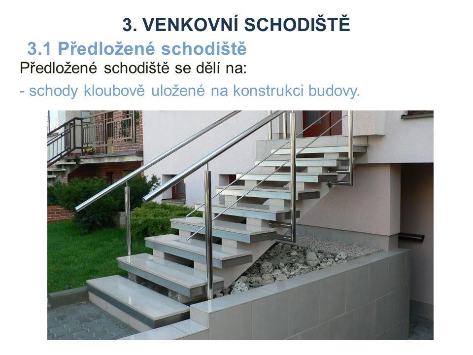 Předložené schodiště se dělí na: - schody kloubově uložené na konstrukci budovy.