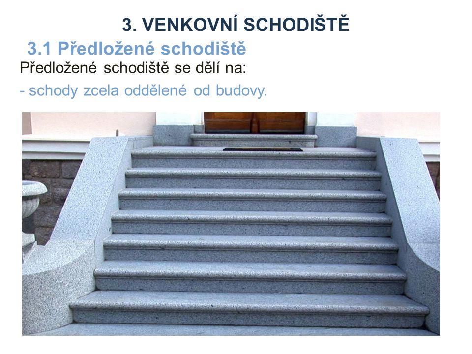 Předložené schodiště se dělí na: - schody zcela oddělené od budovy.