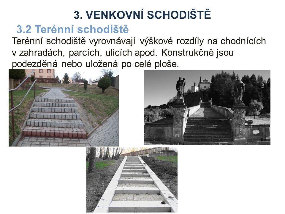 Terénní schodiště vyrovnávají výškové rozdíly na chodnících v zahradách, parcích, ulicích apod.