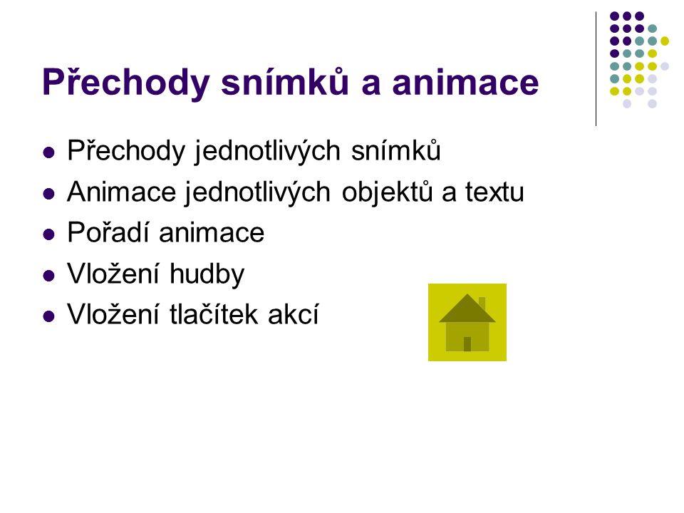 Přechody snímků a animace Přechody jednotlivých snímků Animace jednotlivých objektů a textu Pořadí animace Vložení hudby Vložení tlačítek akcí