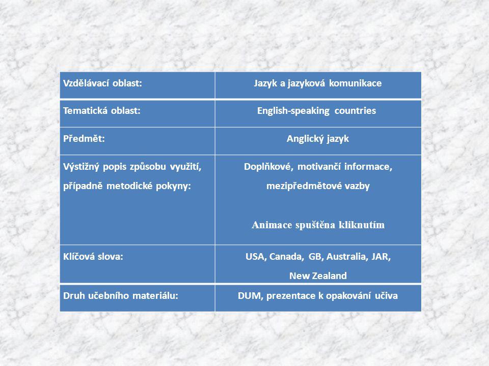 Vzdělávací oblast:Jazyk a jazyková komunikace Tematická oblast:English-speaking countries Předmět:Anglický jazyk Výstižný popis způsobu využití, případně metodické pokyny: Doplňkové, motivančí informace, mezipředmětové vazby Animace spuštěna kliknutím Klíčová slova: USA, Canada, GB, Australia, JAR, New Zealand Druh učebního materiálu:DUM, prezentace k opakování učiva