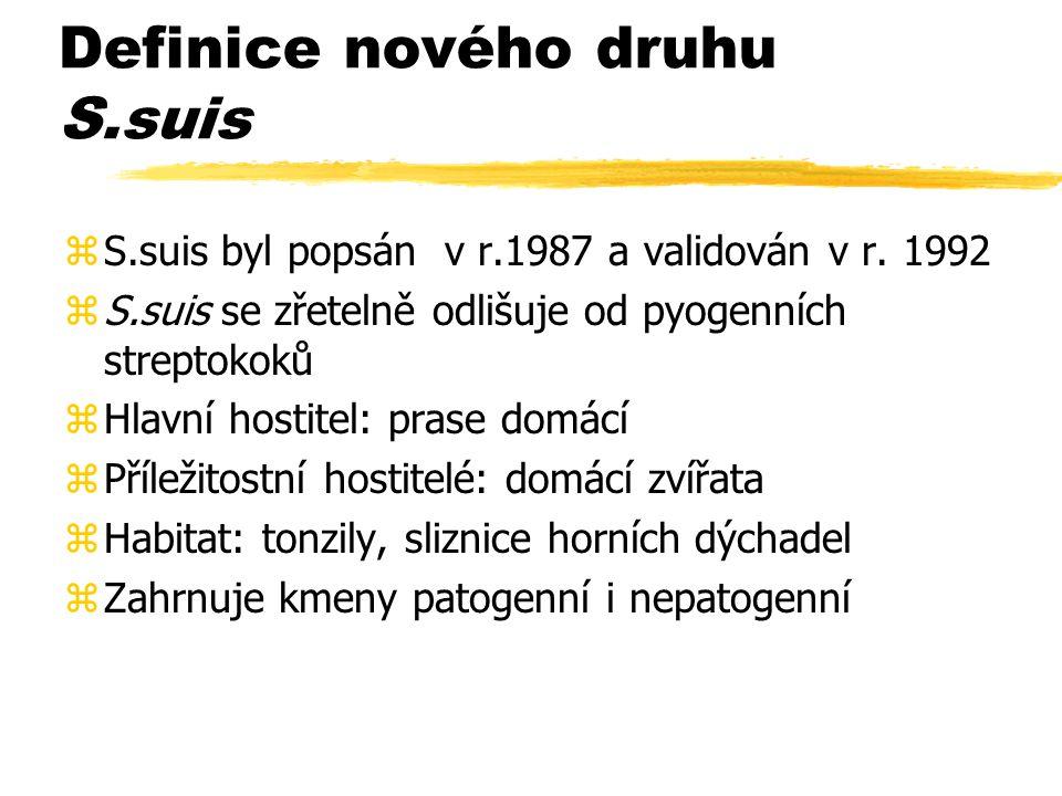 Definice nového druhu S.suis zS.suis byl popsán v r.1987 a validován v r. 1992 zS.suis se zřetelně odlišuje od pyogenních streptokoků zHlavní hostitel