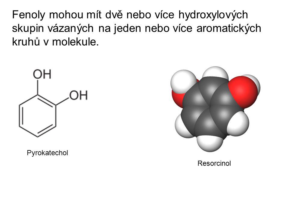 Fenoly mohou mít dvě nebo více hydroxylových skupin vázaných na jeden nebo více aromatických kruhů v molekule.