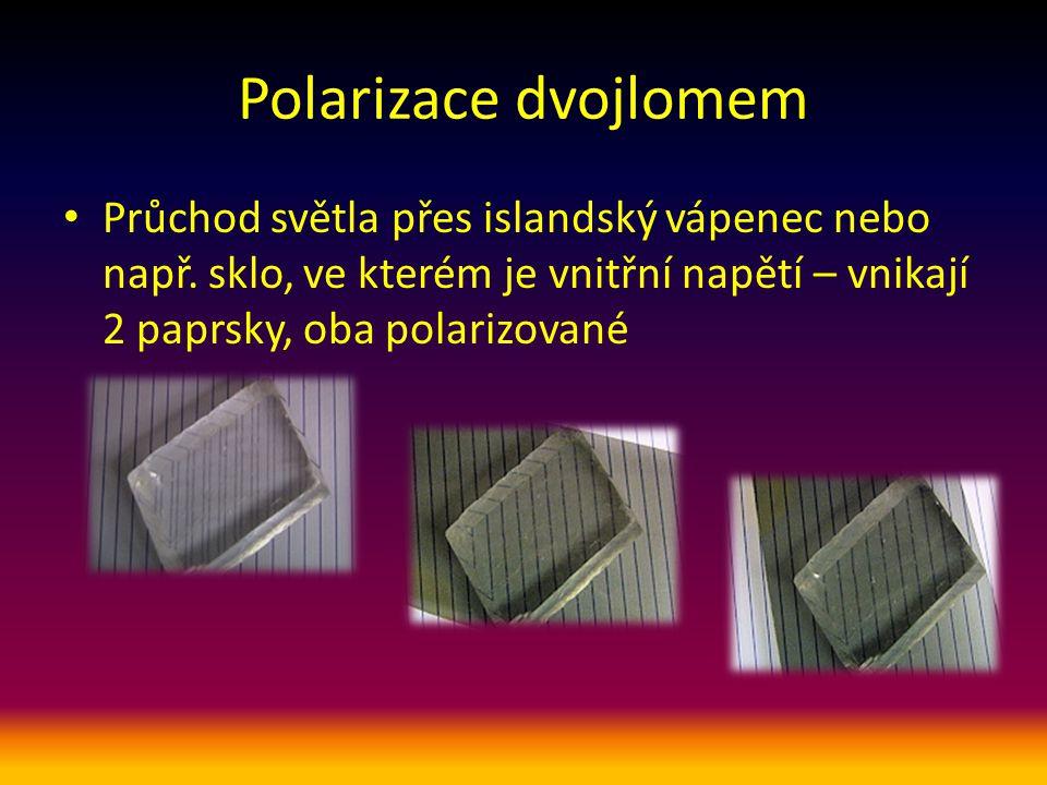 Polarizační filtr Průchod světla polaroidem – polarizačním filtrem Tím projdou jenom složky vektorů el.