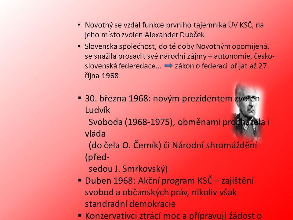 Novotný se vzdal funkce prvního tajemníka ÚV KSČ, na jeho místo zvolen Alexander Dubček Slovenská společnost, do té doby Novotným opomíjená, se snažil
