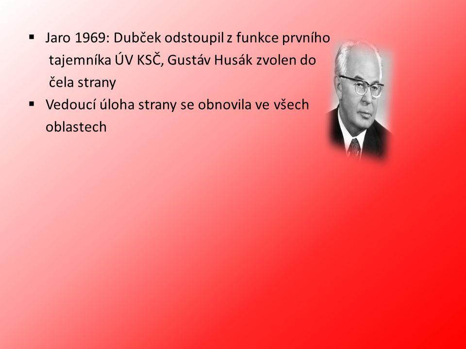  Jaro 1969: Dubček odstoupil z funkce prvního tajemníka ÚV KSČ, Gustáv Husák zvolen do čela strany  Vedoucí úloha strany se obnovila ve všech oblast