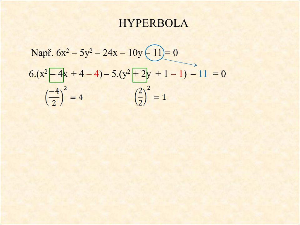 HYPERBOLA Např. 6x 2 – 5y 2 – 24x – 10y – 11 = 0 6.(x 2 – 4x+ 4 – 4) – 5.(y 2 + 2y+ 1 – 1) – 11 = 0