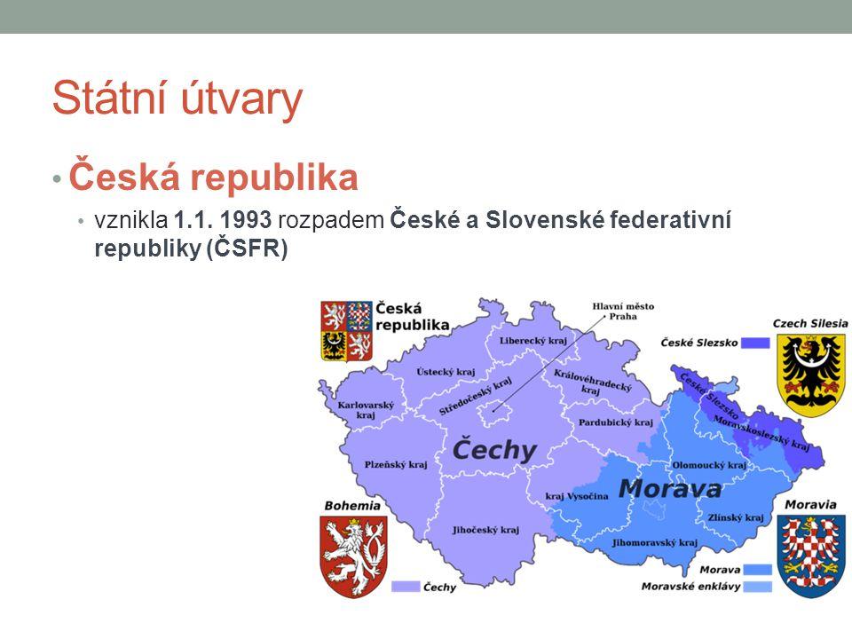 Státní útvary Česká republika vznikla 1.1. 1993 rozpadem České a Slovenské federativní republiky (ČSFR)