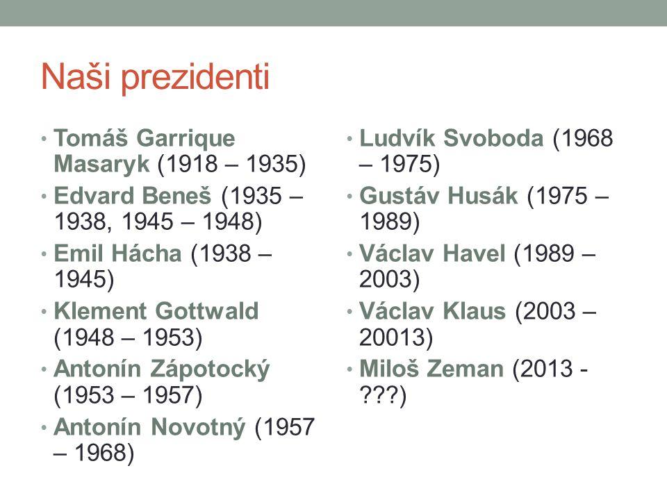 Naši prezidenti Tomáš Garrique Masaryk (1918 – 1935) Edvard Beneš (1935 – 1938, 1945 – 1948) Emil Hácha (1938 – 1945) Klement Gottwald (1948 – 1953) A