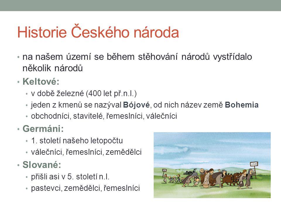 Zápis do sešitu Historie českého národa Čechy přivedl Praotec Čech → Čechy – pověst Keltové: doba železná, Bójové → Bohemia Germáni: 1.