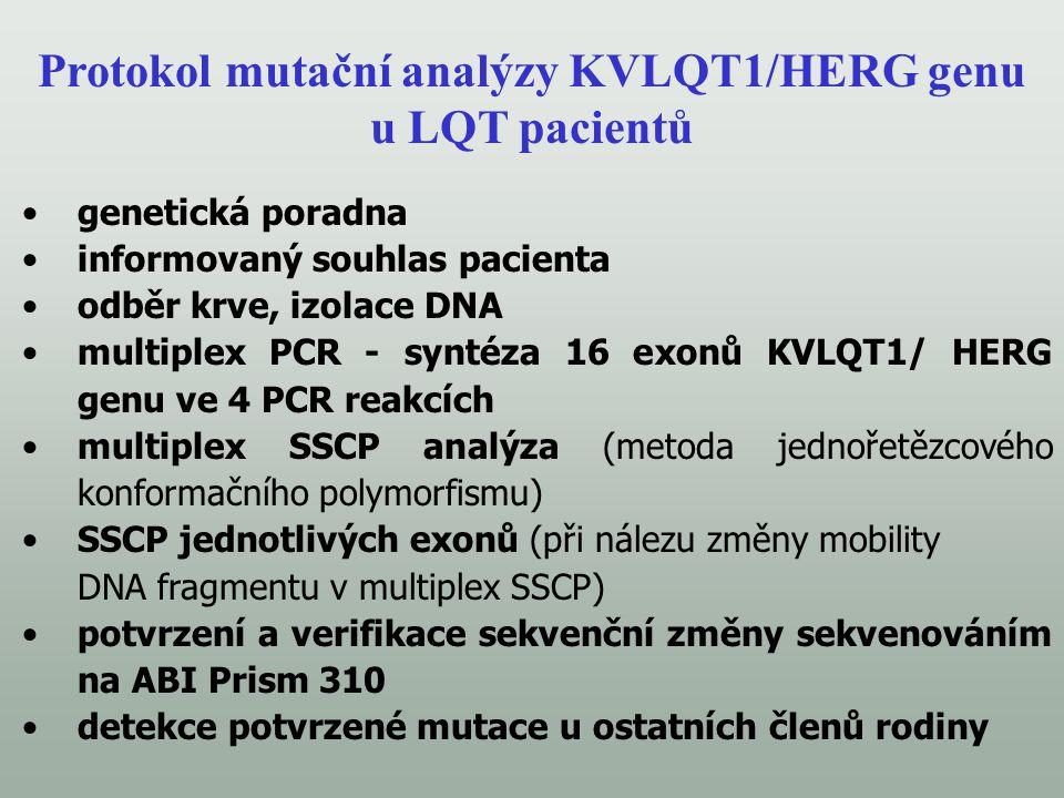 Protokol mutační analýzy KVLQT1/HERG genu u LQT pacientů genetická poradna informovaný souhlas pacienta odběr krve, izolace DNA multiplex PCR - syntéz