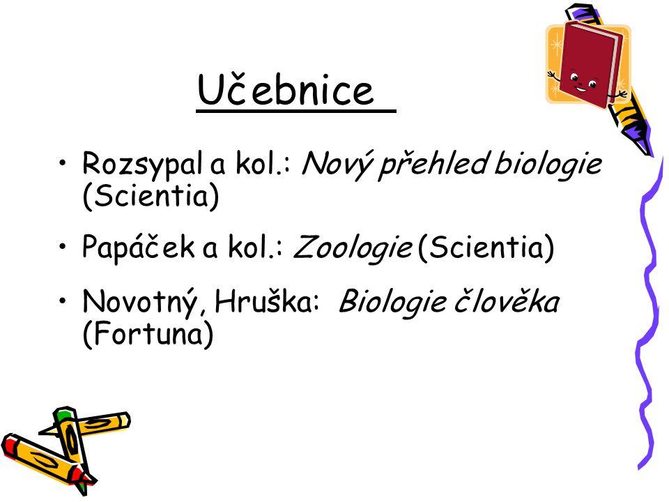 Učebnice Rozsypal a kol.: Nový přehled biologie (Scientia) Papáček a kol.: Zoologie (Scientia) Novotný, Hruška: Biologie člověka (Fortuna)