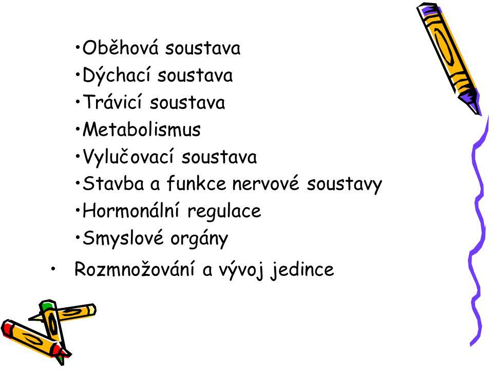Oběhová soustava Dýchací soustava Trávicí soustava Metabolismus Vylučovací soustava Stavba a funkce nervové soustavy Hormonální regulace Smyslové orgány Rozmnožování a vývoj jedince