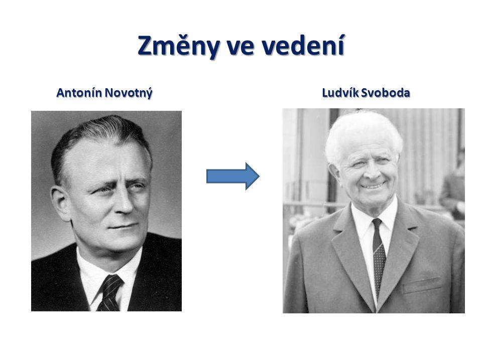 Změny ve vedení Antonín Novotný Ludvík Svoboda