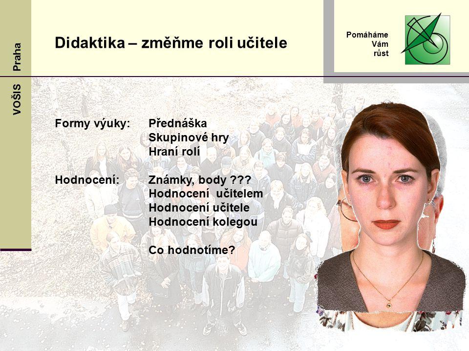 VOŠIS Praha Pomáháme Vám růst Formy výuky: Přednáška Skupinové hry Hraní rolí Hodnocení:Známky, body ??.