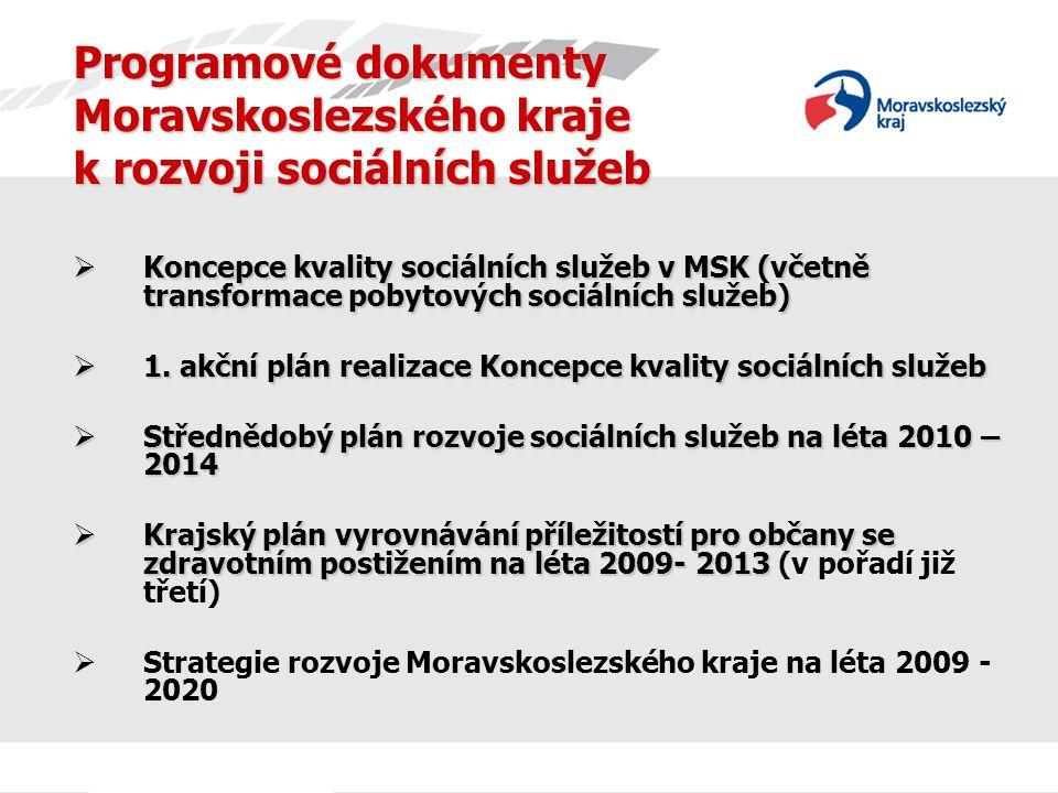 Programové dokumenty Moravskoslezského kraje k rozvoji sociálních služeb  Koncepce kvality sociálních služeb v MSK (včetně transformace pobytových sociálních služeb)  1.