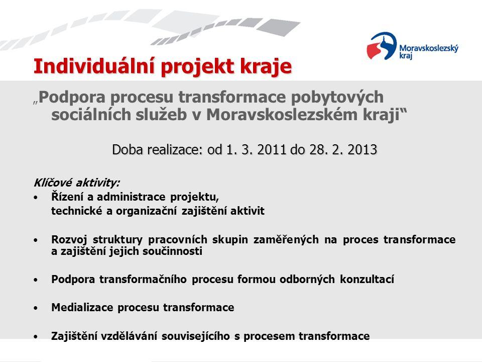 """Individuální projekt kraje """" Podpora procesu transformace pobytových sociálních služeb v Moravskoslezském kraji Doba realizace: od 1."""