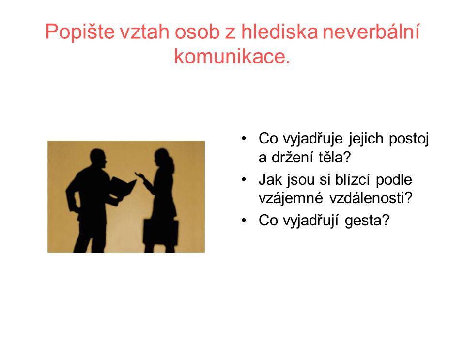 Popište vztah osob z hlediska neverbální komunikace.