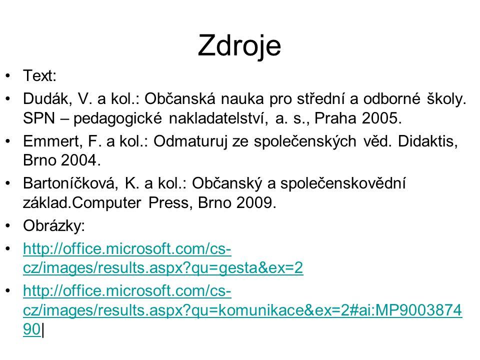 Zdroje Text: Dudák, V. a kol.: Občanská nauka pro střední a odborné školy.