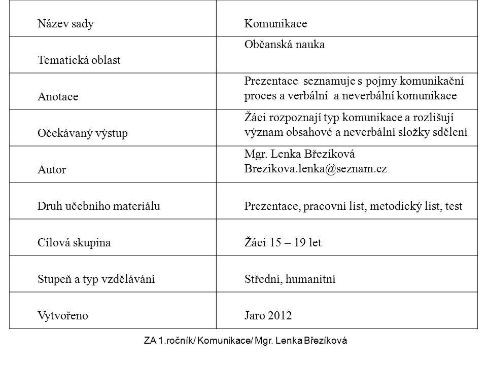 ZA, 1.ročník / Komunikace/ Mgr.