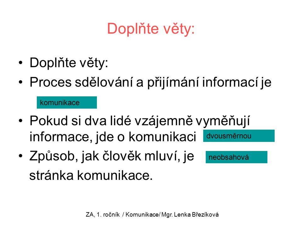 Doplňte věty: Proces sdělování a přijímání informací je Pokud si dva lidé vzájemně vyměňují informace, jde o komunikaci Způsob, jak člověk mluví, je stránka komunikace.