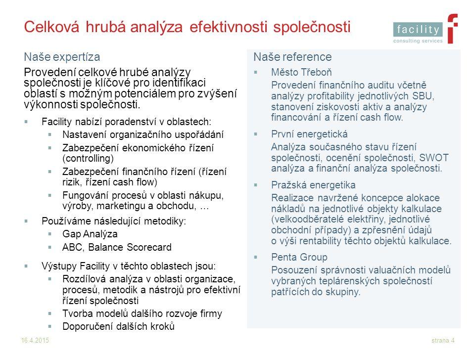 16.4.2015strana 4 Celková hrubá analýza efektivnosti společnosti Provedení celkové hrubé analýzy společnosti je klíčové pro identifikaci oblastí s mož