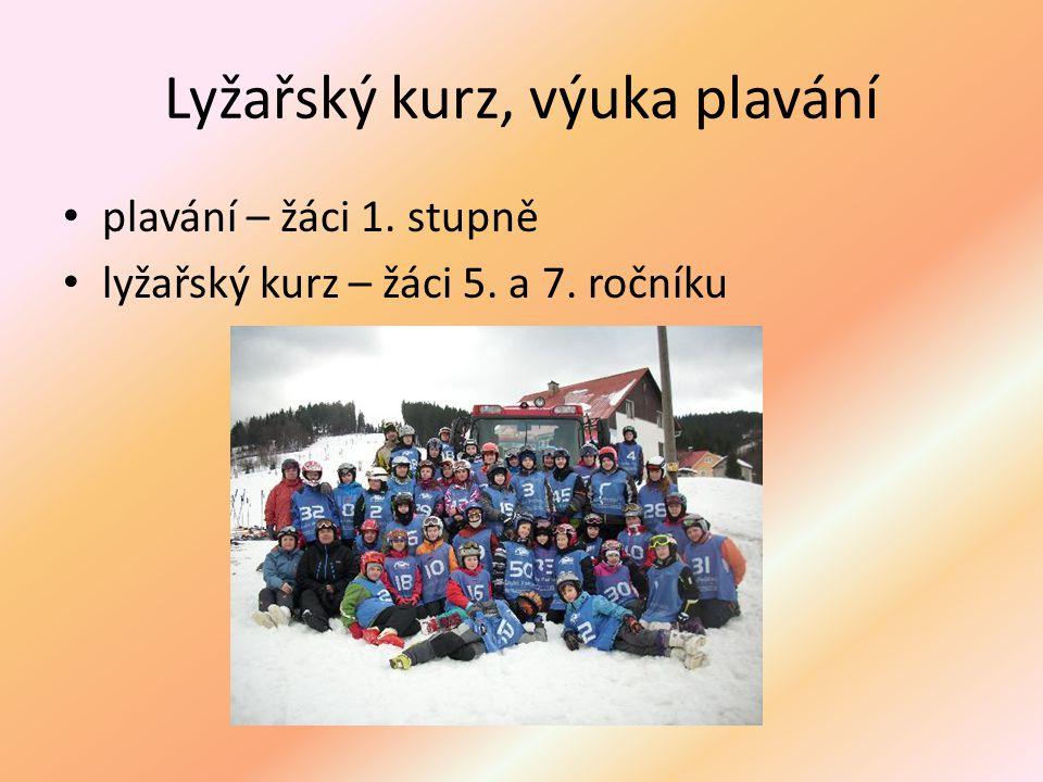 Lyžařský kurz, výuka plavání plavání – žáci 1. stupně lyžařský kurz – žáci 5. a 7. ročníku
