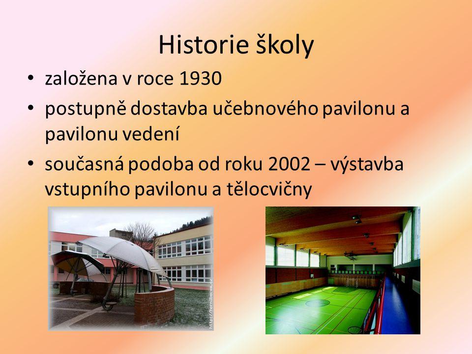 Historie školy založena v roce 1930 postupně dostavba učebnového pavilonu a pavilonu vedení současná podoba od roku 2002 – výstavba vstupního pavilonu