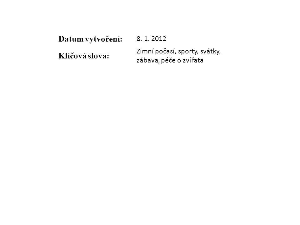 Datum vytvoření: 8. 1. 2012 Klíčová slova: Zimní počasí, sporty, svátky, zábava, péče o zvířata