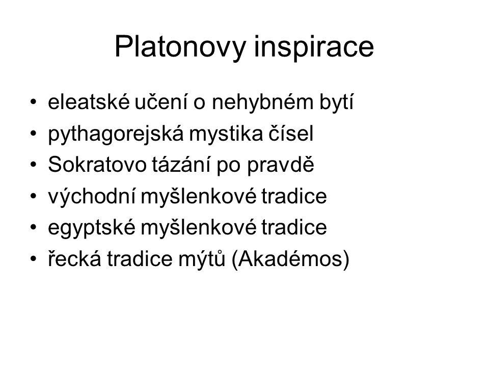 Platonovy inspirace eleatské učení o nehybném bytí pythagorejská mystika čísel Sokratovo tázání po pravdě východní myšlenkové tradice egyptské myšlenk