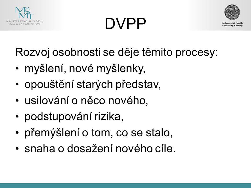 DVPP Rozvoj osobnosti se děje těmito procesy: myšlení, nové myšlenky, opouštění starých představ, usilování o něco nového, podstupování rizika, přemýšlení o tom, co se stalo, snaha o dosažení nového cíle.