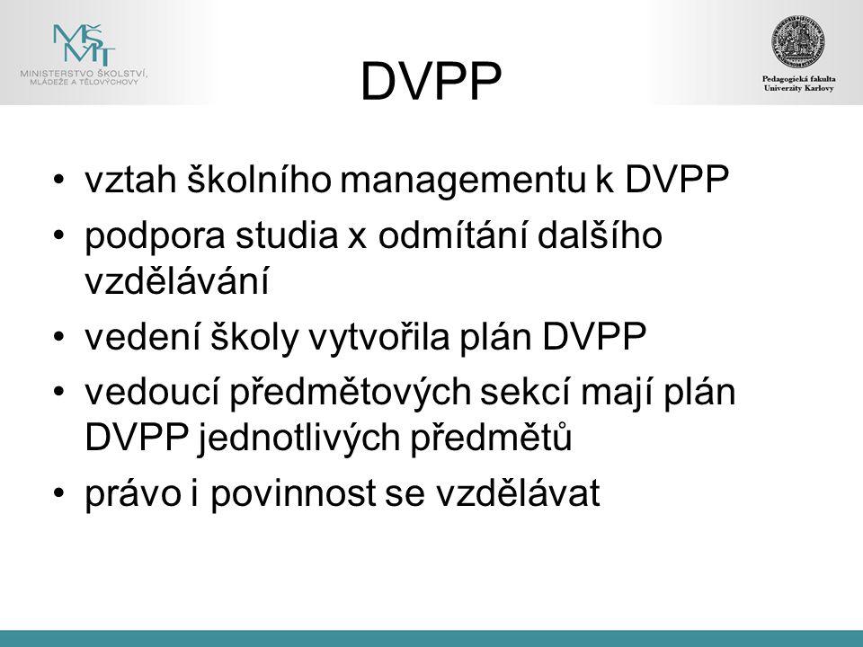 DVPP vztah školního managementu k DVPP podpora studia x odmítání dalšího vzdělávání vedení školy vytvořila plán DVPP vedoucí předmětových sekcí mají plán DVPP jednotlivých předmětů právo i povinnost se vzdělávat