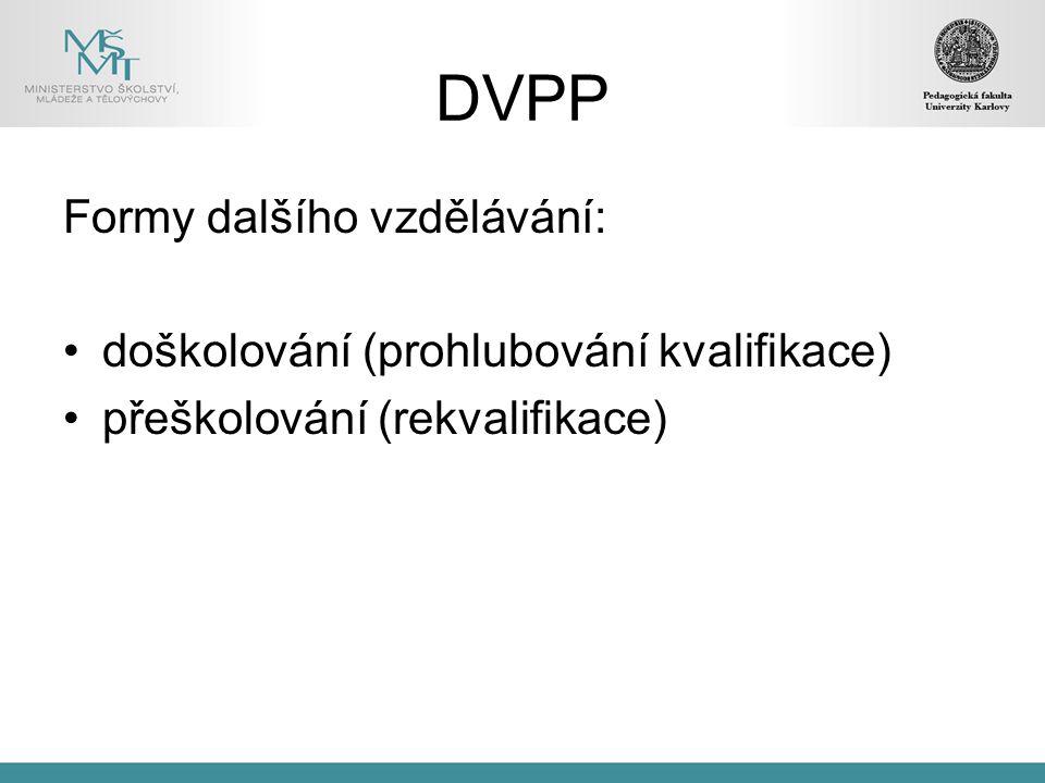 DVPP Formy dalšího vzdělávání: doškolování (prohlubování kvalifikace) přeškolování (rekvalifikace)