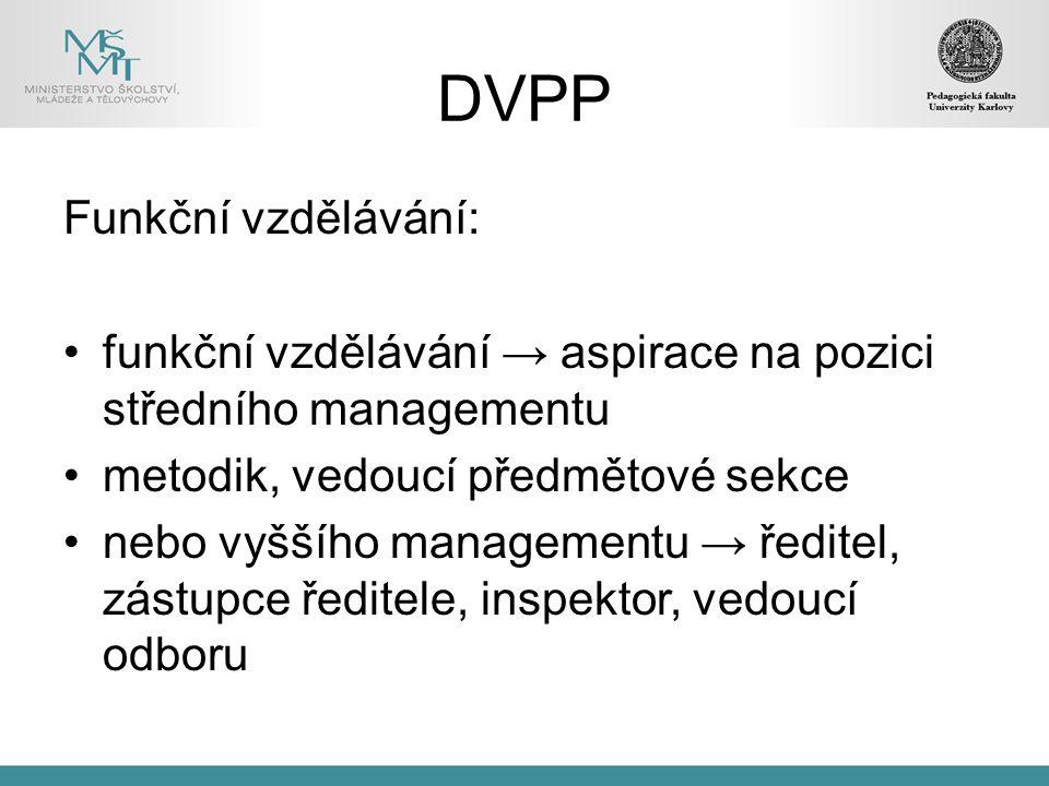 DVPP Funkční vzdělávání: funkční vzdělávání → aspirace na pozici středního managementu metodik, vedoucí předmětové sekce nebo vyššího managementu → ředitel, zástupce ředitele, inspektor, vedoucí odboru