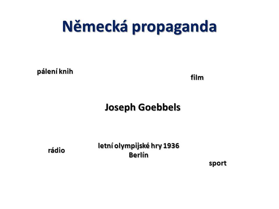 Německá propaganda Joseph Goebbels pálení knih film rádio sport letní olympijské hry 1936 Berlín
