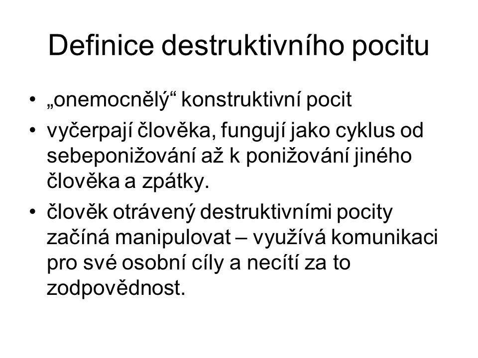 """Definice destruktivního pocitu """"onemocnělý"""" konstruktivní pocit vyčerpají člověka, fungují jako cyklus od sebeponižování až k ponižování jiného člověk"""