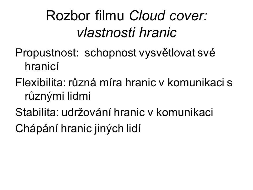 Rozbor filmu Cloud cover: vlastnosti hranic Propustnost: schopnost vysvětlovat své hranicí Flexibilita: různá míra hranic v komunikaci s různými lidmi