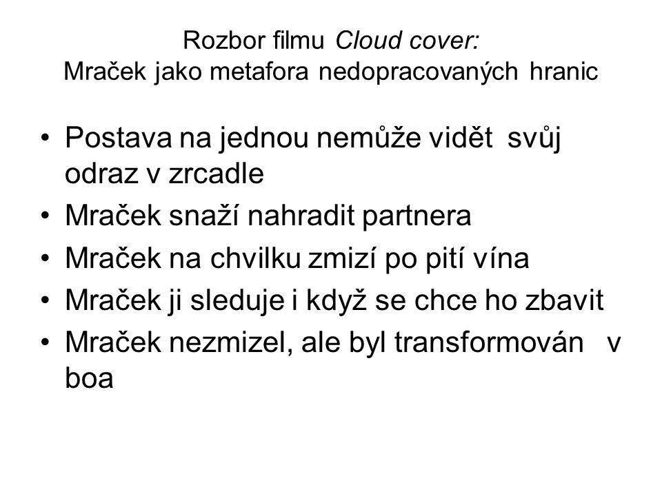 Rozbor filmu Cloud cover: Mraček jako metafora nedopracovaných hranic Postava na jednou nemůže vidět svůj odraz v zrcadle Mraček snaží nahradit partne