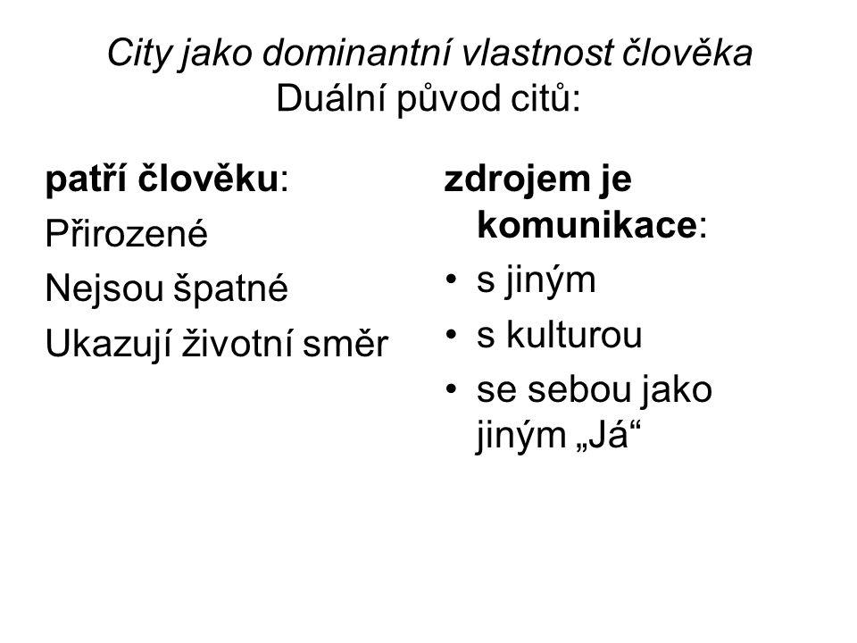 City jako dominantní vlastnost člověka Veřejnost ohodnotí city a způsob jejich projevu.